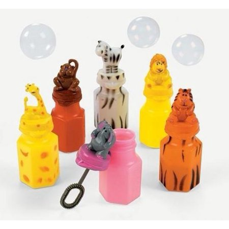 Animal Bubbles (24 ZOO Animal Jungle Characters Bubble Bottles Lion Zebra Giraffe Monkey Tiger)