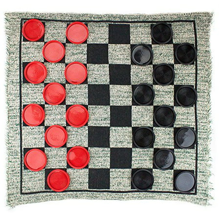 Brybelly Giant 3-in-1 Checkers and Mega Tic Tac Toe with Reversible Rug - Tic Tac 60 Pack