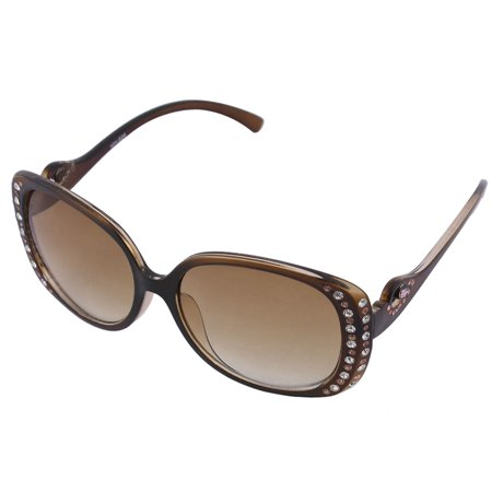 Outdoor Shining Rhinestone Inlaid Square Tinted Lens Glasses Sunglasses (Brown Square Glasses)