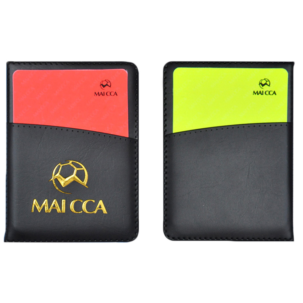 Portable Referee Score Record Leather Leather Ballpoint Pen Red Yellow Card Tool Equipment Football