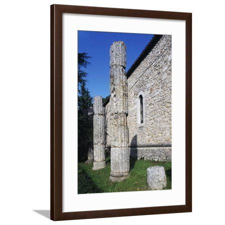 Columns of a Roman Temple, Casamari Abbey (11th-13th Century), Veroli, Lazio, Italy Framed Print Wall Art - Plastic Roman Columns For Sale