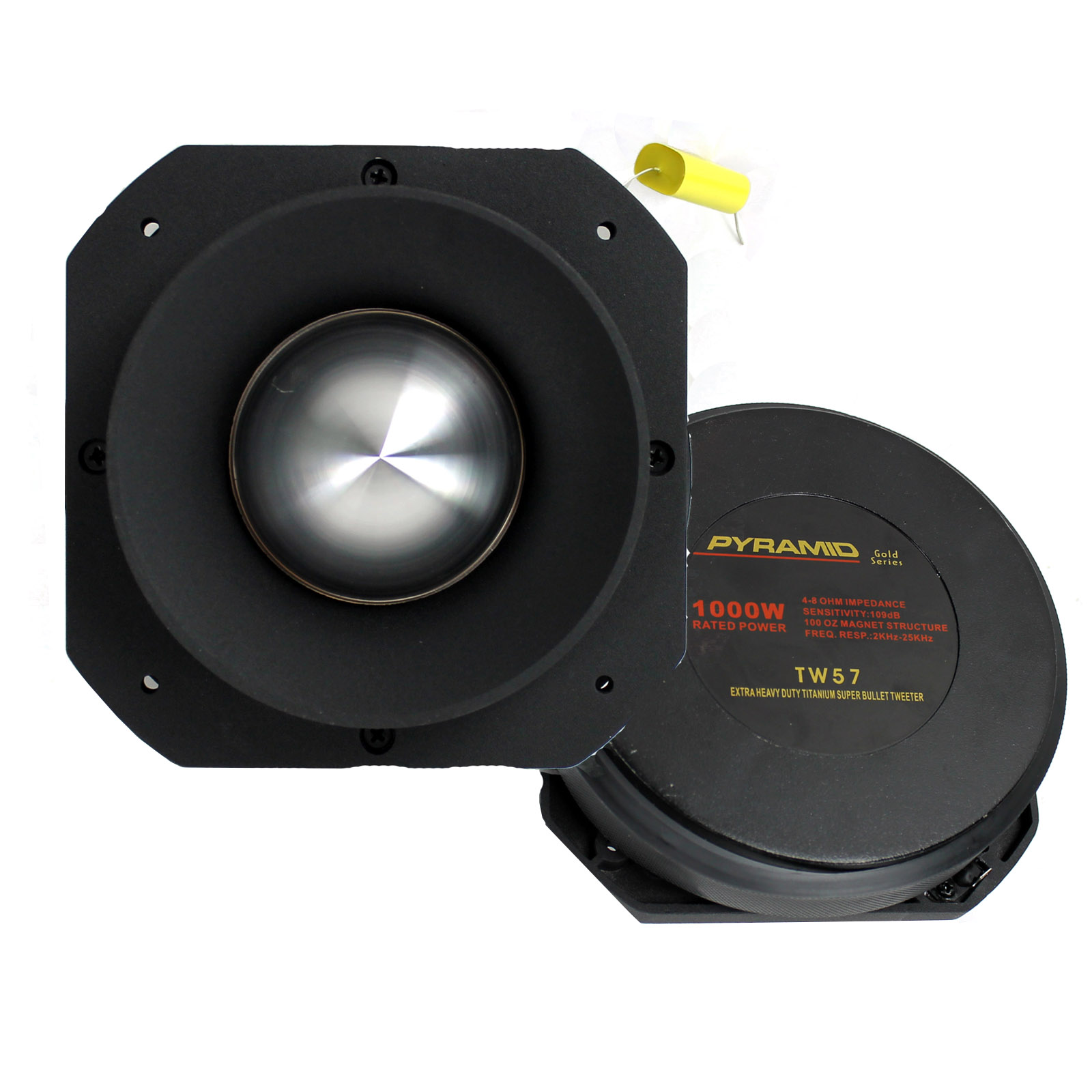 "Pyramid 3"" 1000 Watt Die-Cast Aluminum Titainium Super Tweeter"