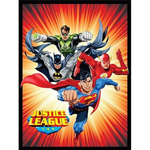 Crover Justice League (Superman, Batman, The Flash, and Green Lantern) Sunburst Luxury Plush Polyester Throw Blanket