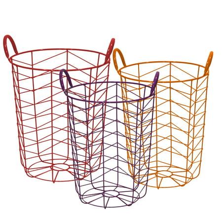 Grid Basket - Mainstays Round Chevron Grid Metal Wire Basket, Set of 3, Multicolor