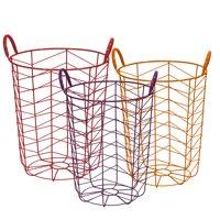 Mainstays Round Chevron Grid Metal Wire Basket, Set of 3, Multicolor