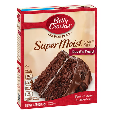 (2 pack) Betty Crocker Super Moist Devil's Food Cake Mix, 15.25 (Avi Cakes Food)