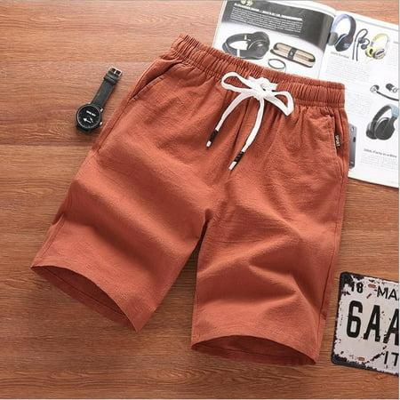 Mens Cotton linen Shorts Summer Casual Jeans Cargo Combat Half Pants Beach