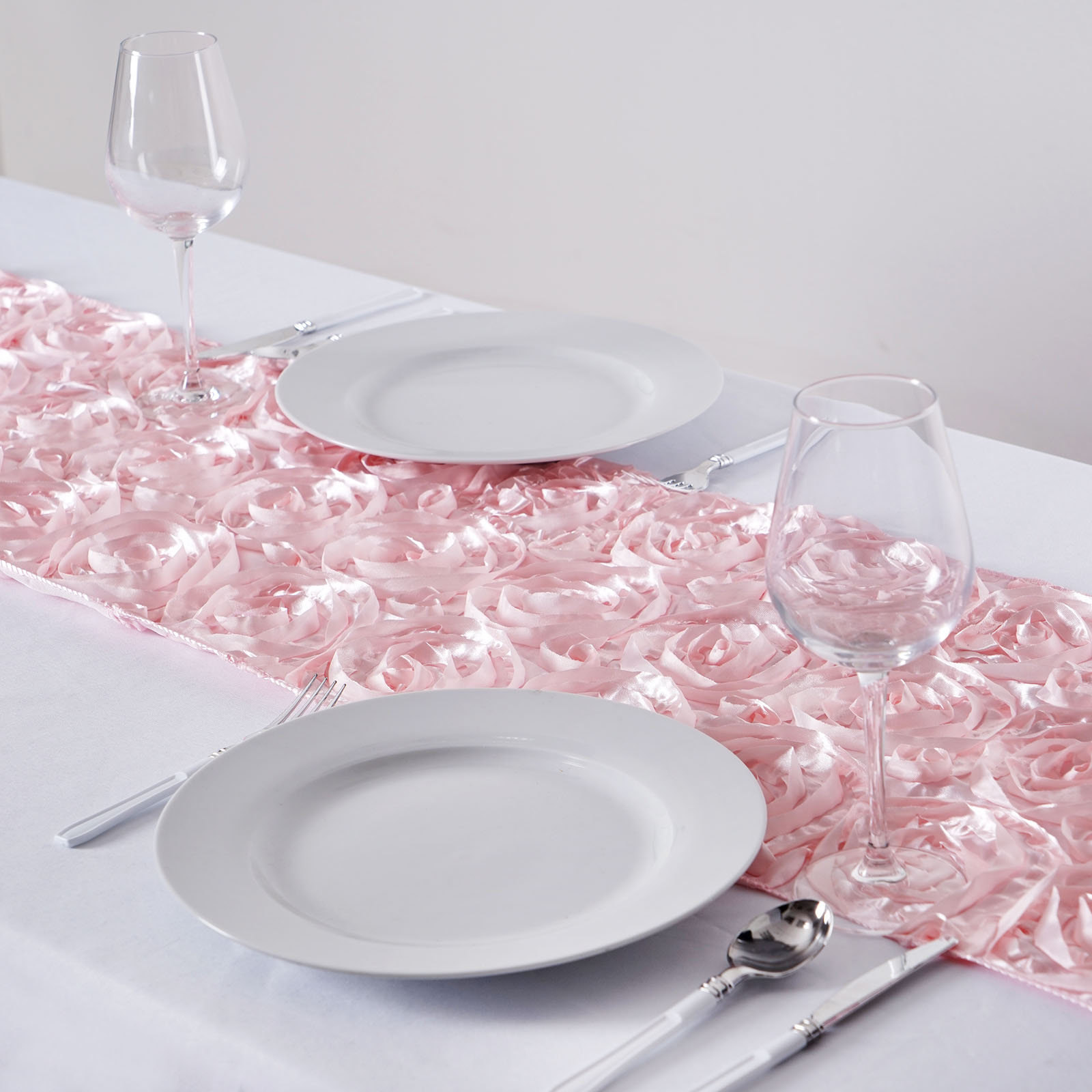 """BalsaCircle 14"""" x 108"""" Raised Roses Table Top Runner - Rosettes Wedding Party Reception Linens Dinner Event Catering Decorations"""