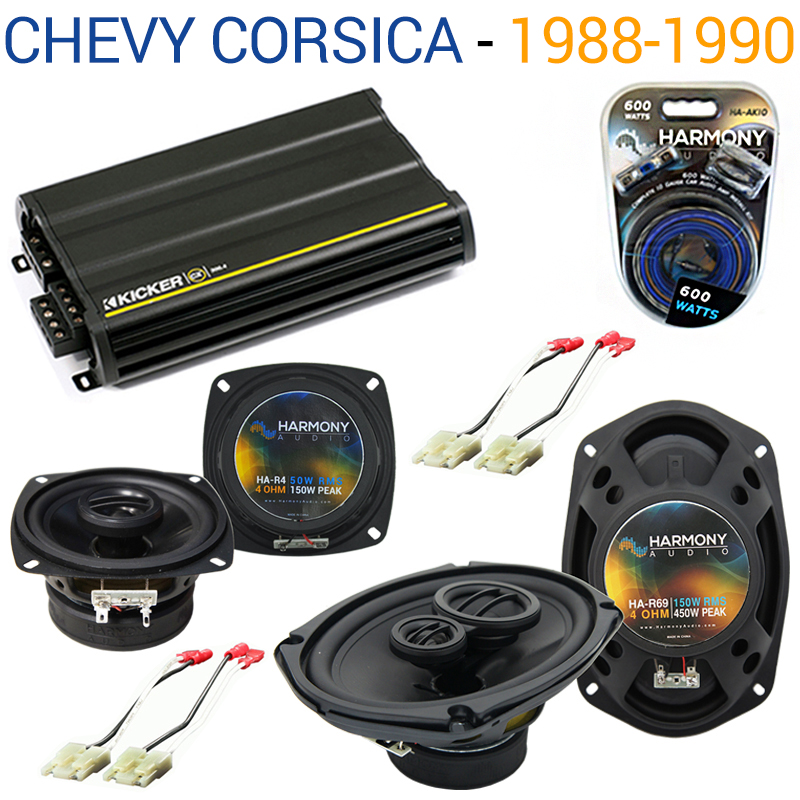 Chevy Corsica 1988-1990 Factory Speaker Upgrade Harmony R4 R69 & CX300.4 Amp - Factory Certified Refurbished