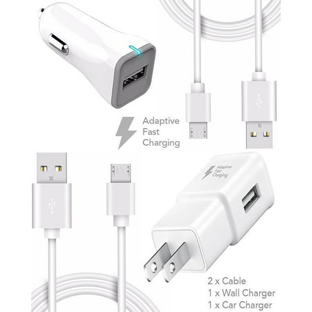 Htc Velocity 4G Vodafone Charger  Micro Usb 2 0 Cable Kit By Ixir  Wall Charger   Car Charger   2Cable  True Digital Adaptive Fast Charging Uses Dual Voltages For Up To 50  Faster Charging