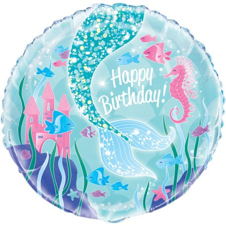 Foil Mermaid Balloon, 18in, 3ct