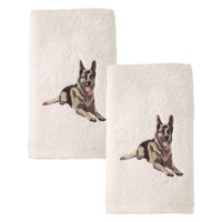 German Shephard Embroidered Hand Towel 2 Pack Ivory