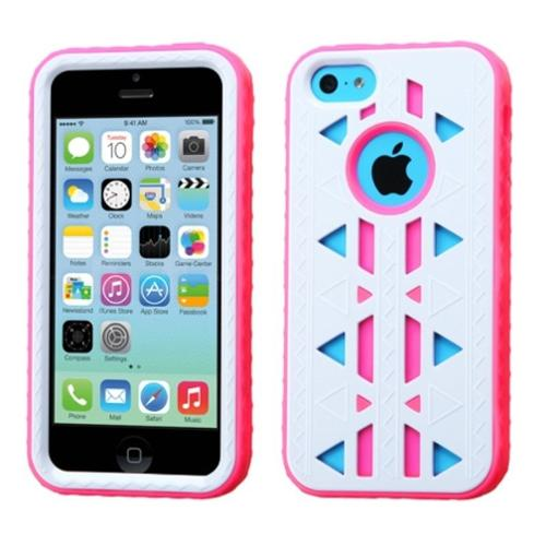 Insten Natural Ivory White/Electric Pink Aztec Armor Hybrid Case Cover For APPLE iPhone 5C