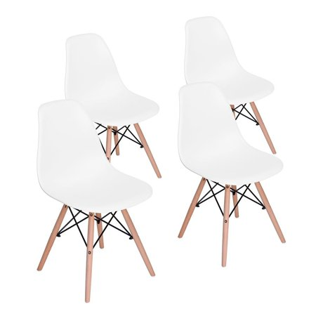 Set Of 4 Eames Style Dining Chair Inspired Eiffel Retro Dsw For Dining Room Office Lounge Chair  White