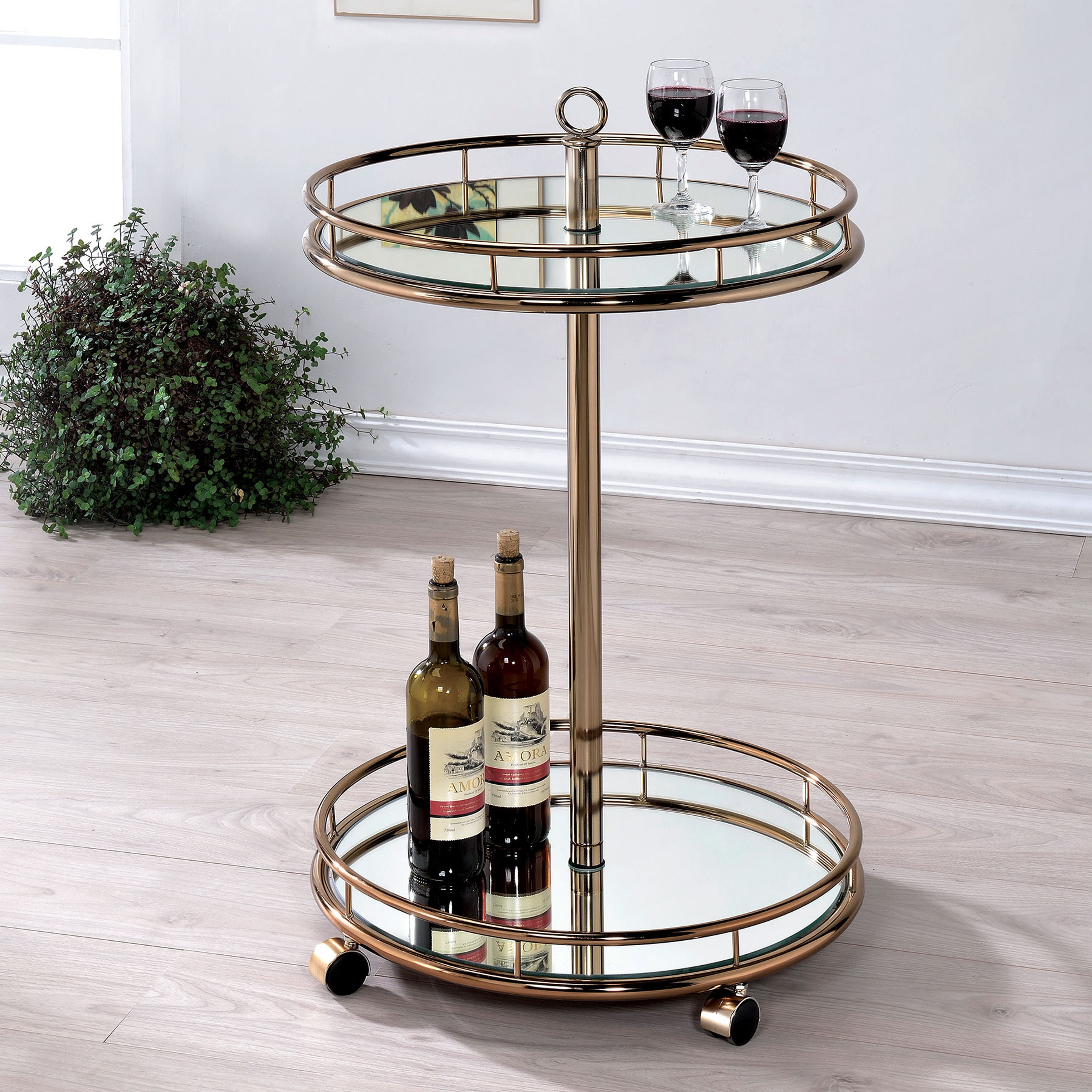 Furniture of America  Odetta Contemporary Champagne 2-shelf Mirrored Bar Cart - N/A