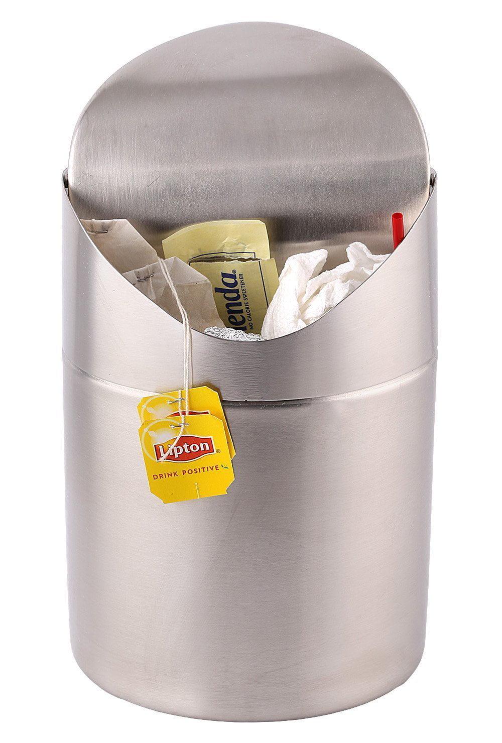 Estilo Mini Countertop Trash Can, Brushed Stainless Steel, Swing Top Trash Bin 1.5 L  ... by