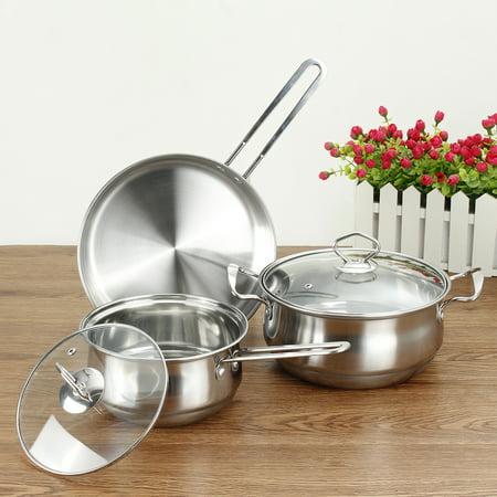 3Pcs Set Home Cookware Stainless Steel Kitchen Soup Pot Fry Pan Saucepan Utensils Kit