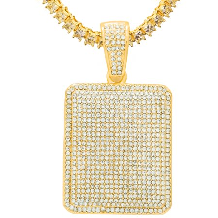 14K Yellow Gold Plated Iced Out Hip Hop Bling Rectangle Dog Tag Pendant 1 Row Square Cubic Zirconia Princess Cut Stones Tennis Chain 16