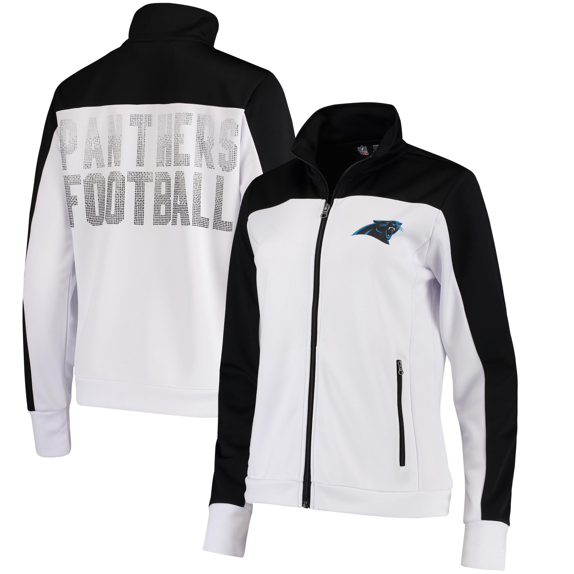 Carolina Panthers G-III 4Her by Carl Banks Women's Playmaker Full-Zip Track Jacket - White/Black