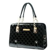 GPCT Women's Top Handle Satchel Handbags (Faux Leather, Twin Handles) - Black