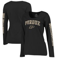 Purdue Boilermakers Fanatics Branded Women's Primary Distressed Arch Over Logo Long Sleeve Hit T-Shirt - Black