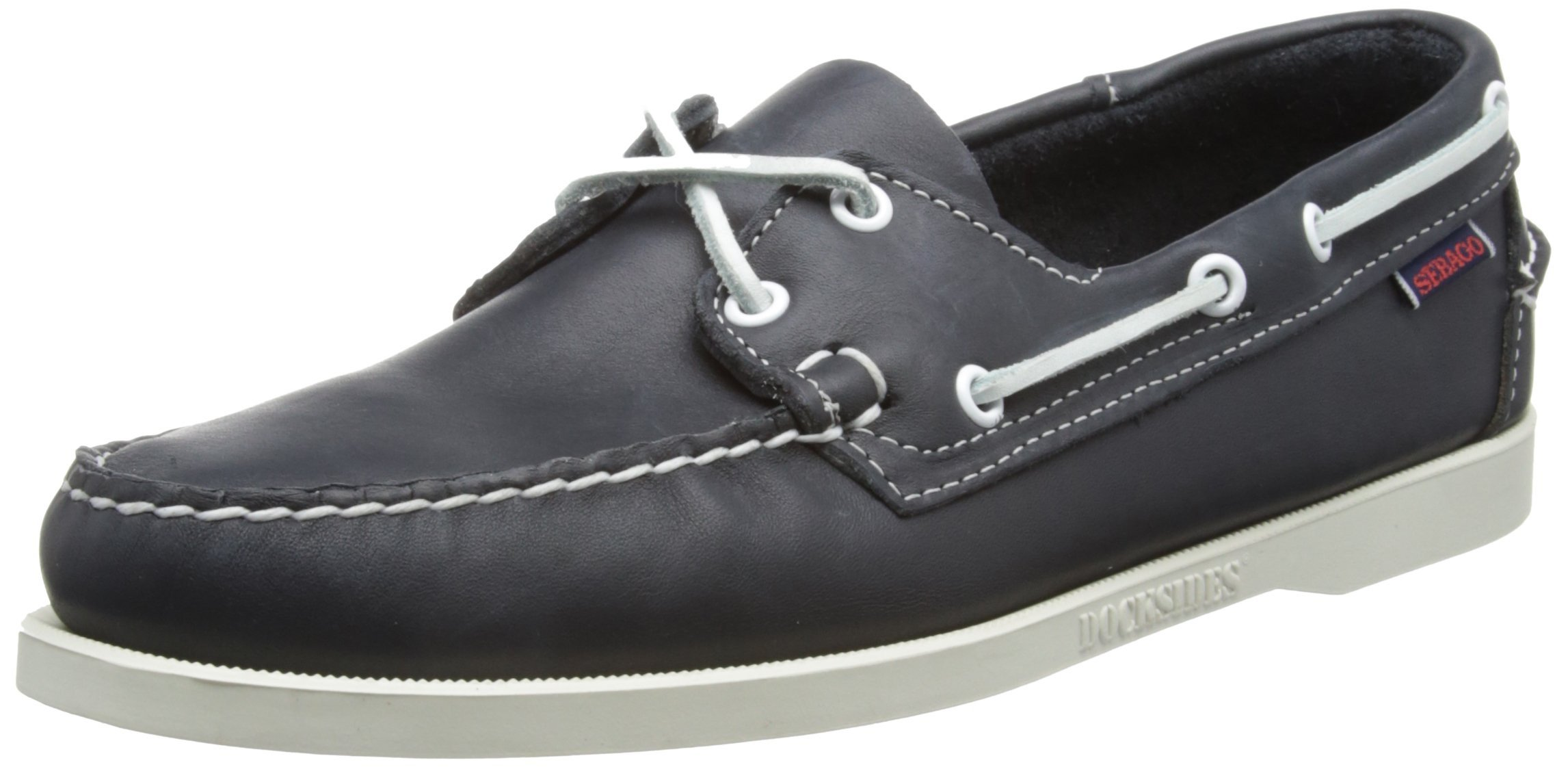Sebago Mens Docksides Leather Boat Shoes in Blue Nite by DAWN LEVY