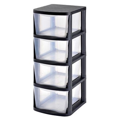 - Product of Muscle Rack 4-Drawer Clear Plastic Storage Tower with Black Frame - Drawers & Cabinet Organizers [Bulk Savings]