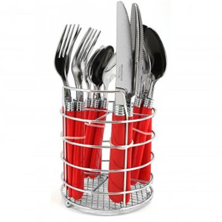 Sensations II Plastic Handle Flatware, Red - 16 (2 Tone 16 Piece)