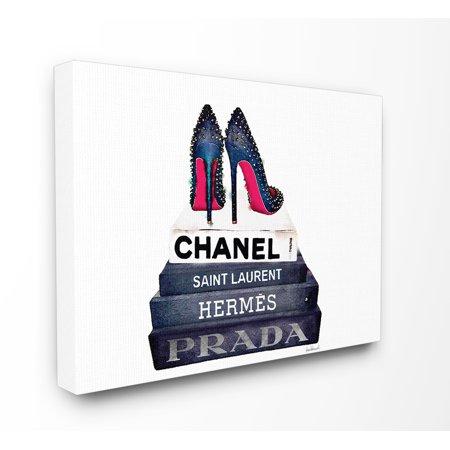 Set Plastic Canvas Home Decor (Stupell Industries Fashion Book Set BW Stud Pump Heels Canvas Art )