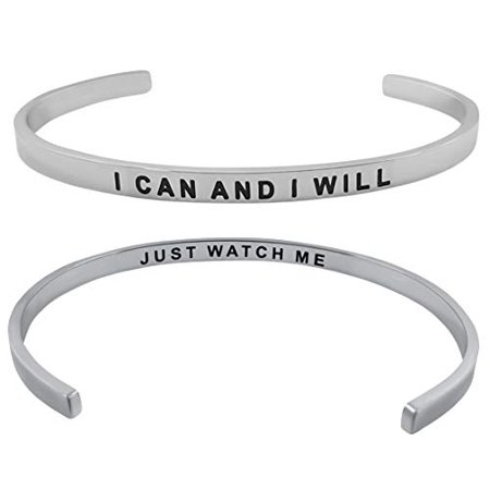 'I Can and I Will'' Inspirational Mantra Quote Cuff Bangle Bracelet Positive Message Motivational Jewelry Gifts - Motivational Bracelets