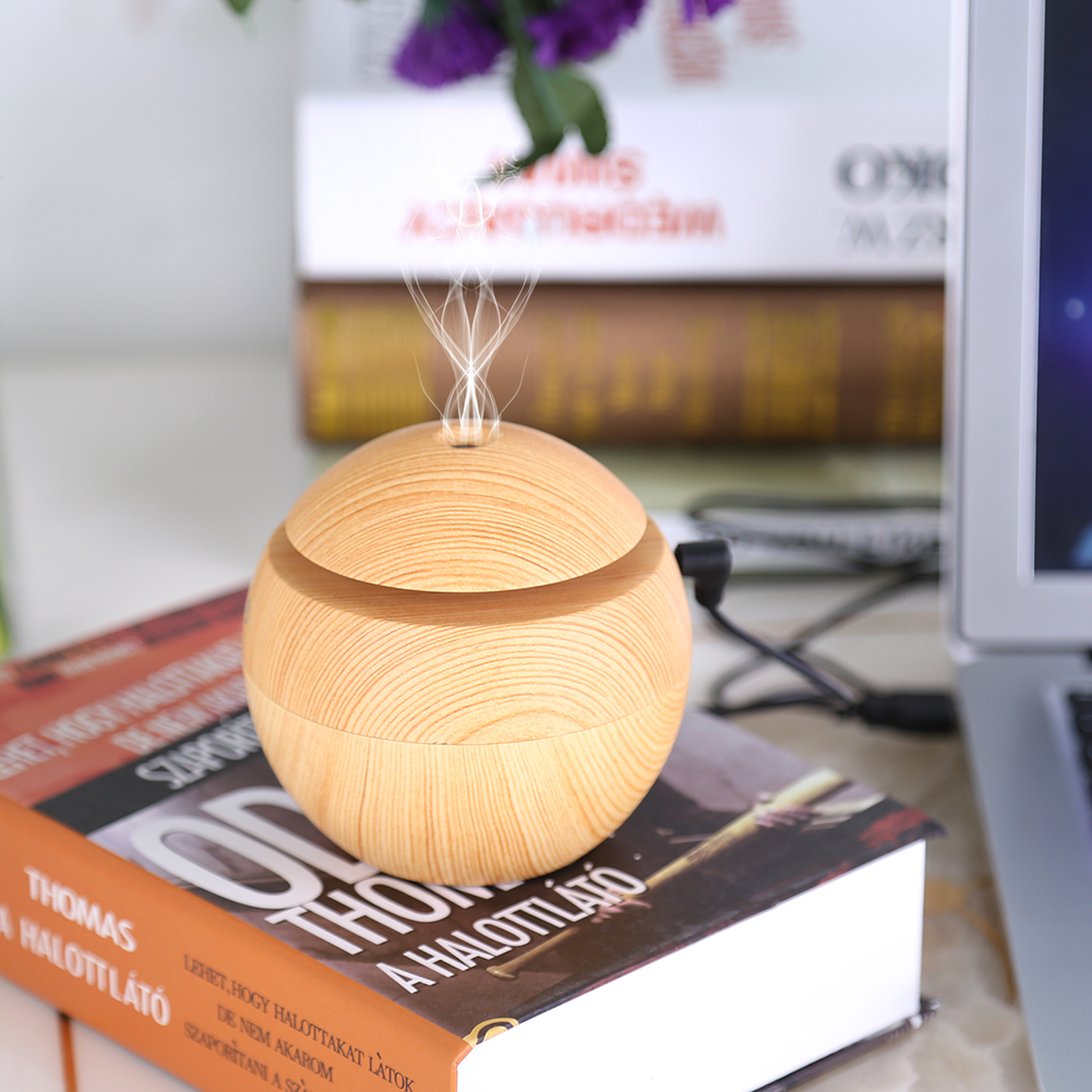 Portable Essential Oil Humidifier LED Touch Aromatherapy Function Aroma Cool Mist Diffuser 130mL for Office Home Bedroom-USB Port Brown