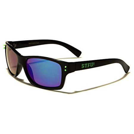 8fdc8fb7c82c52 Unknown - Unisex Color Mirror Lens STFU Party Wayfarer Sunglasses - Black  Blue - Walmart.com