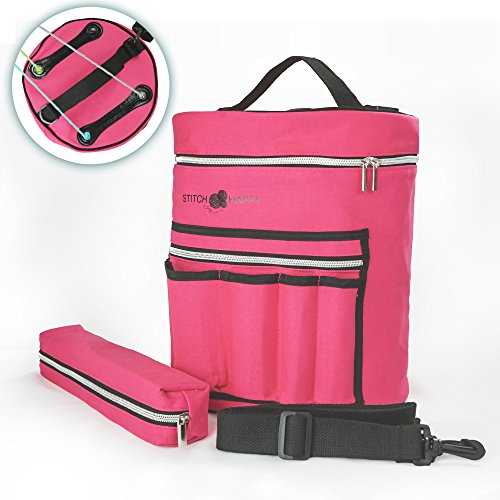 Knitting Bag - Yarn Tote Organizer w/Tool Case, 7 Pockets + Divider for Extra Storage of Projects, Supplies & Crochet (Fuchsia) by Stitch Happy