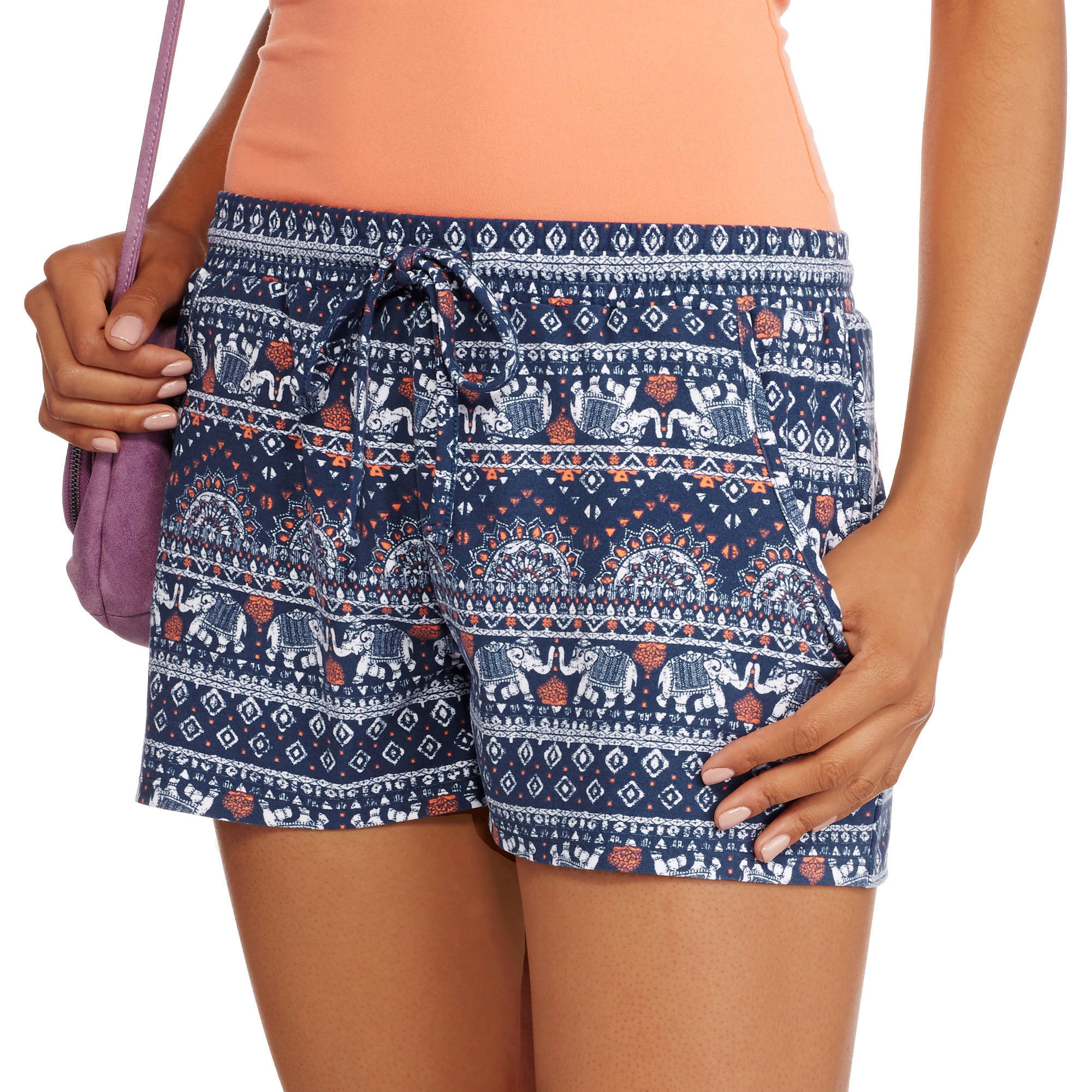 No Boundaries Juniors Yummy Jersey Tie-Front Shorts