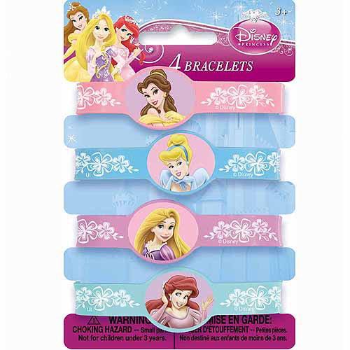 Disney Princess Rubber Bracelet Party Favors, 4ct