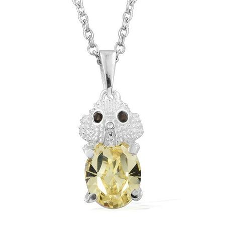 (Smoky Quartz Silver Elephant Pendant Necklace with Steel Chain 20
