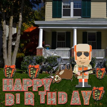 Birthday Yard Cards - Hunter Camo Happy Birthday Yard Decoration - 21 Stakes