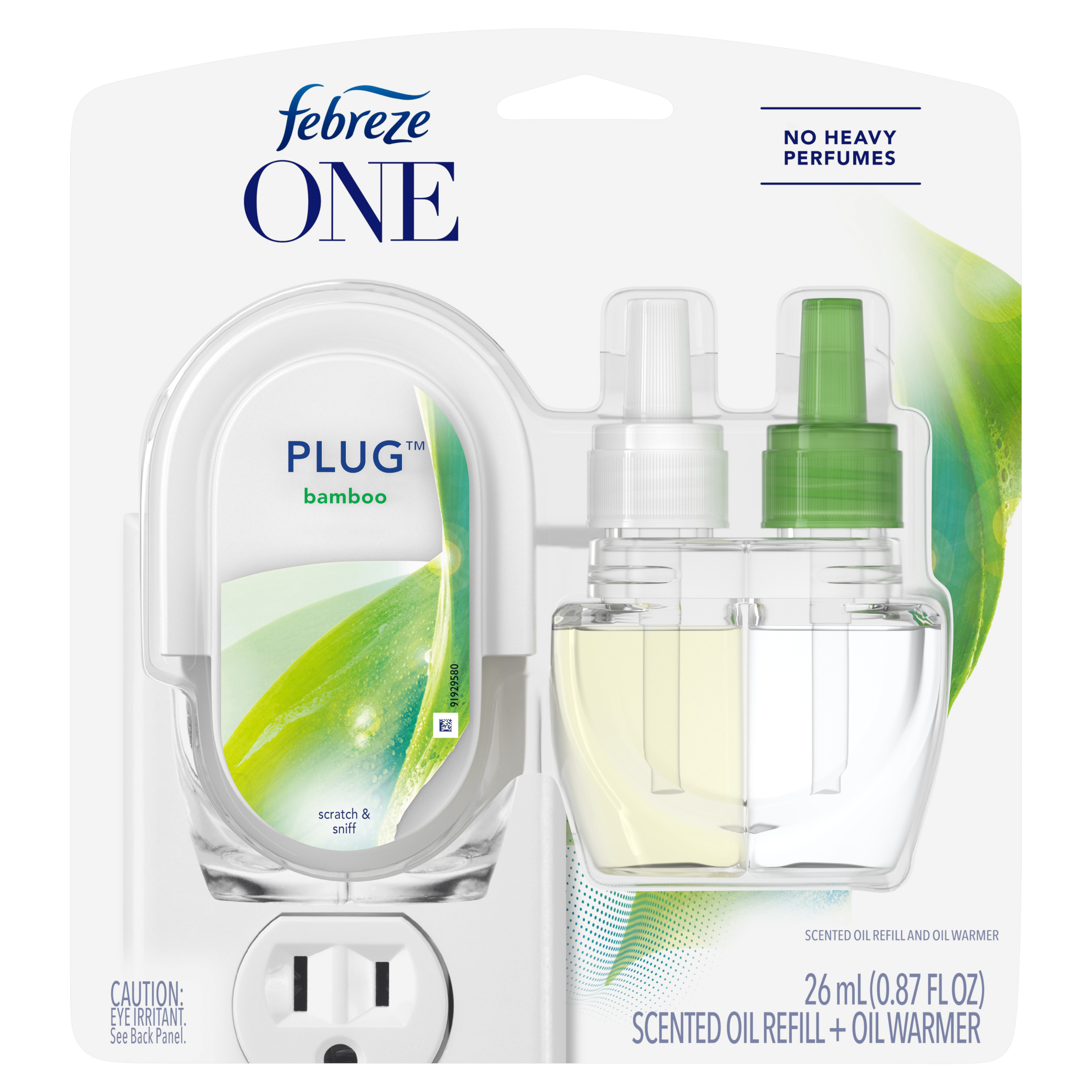 Febreze One Plug Scented Oil Warmer + Bamboo Scented Oil Refill