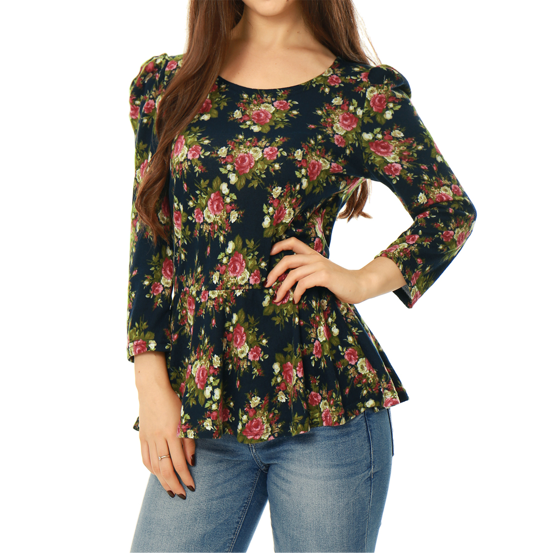Allegra K Women's Floral Long Sleeve Casual Peplum Tops Slim Fit Blouse Blue (Size XL / 16)