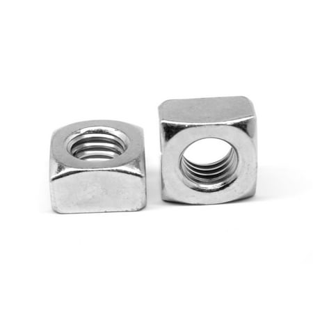 "3/8""-16 Coarse Thread Grade 2 Regular Square Nut Low Carbon Steel Zinc Plated Pk 50"