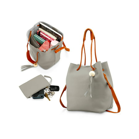 Non Woven Messenger Tote (Fashion Tassel buckets Tote Handbag Women Messenger Hobos Shoulder Bags Crossbody Satchel Bag - Light Gray )