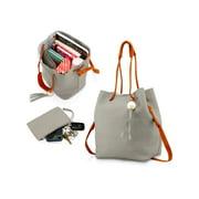 Fashion Tassel buckets Tote Handbag Women Messenger Hobos Shoulder Bags Crossbody Satchel Bag - Light Gray