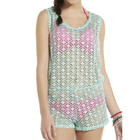 c2b2425484b3 Bongo - Junior Womens Aqua Green Romper Swim Suit Cover Up - Walmart.com