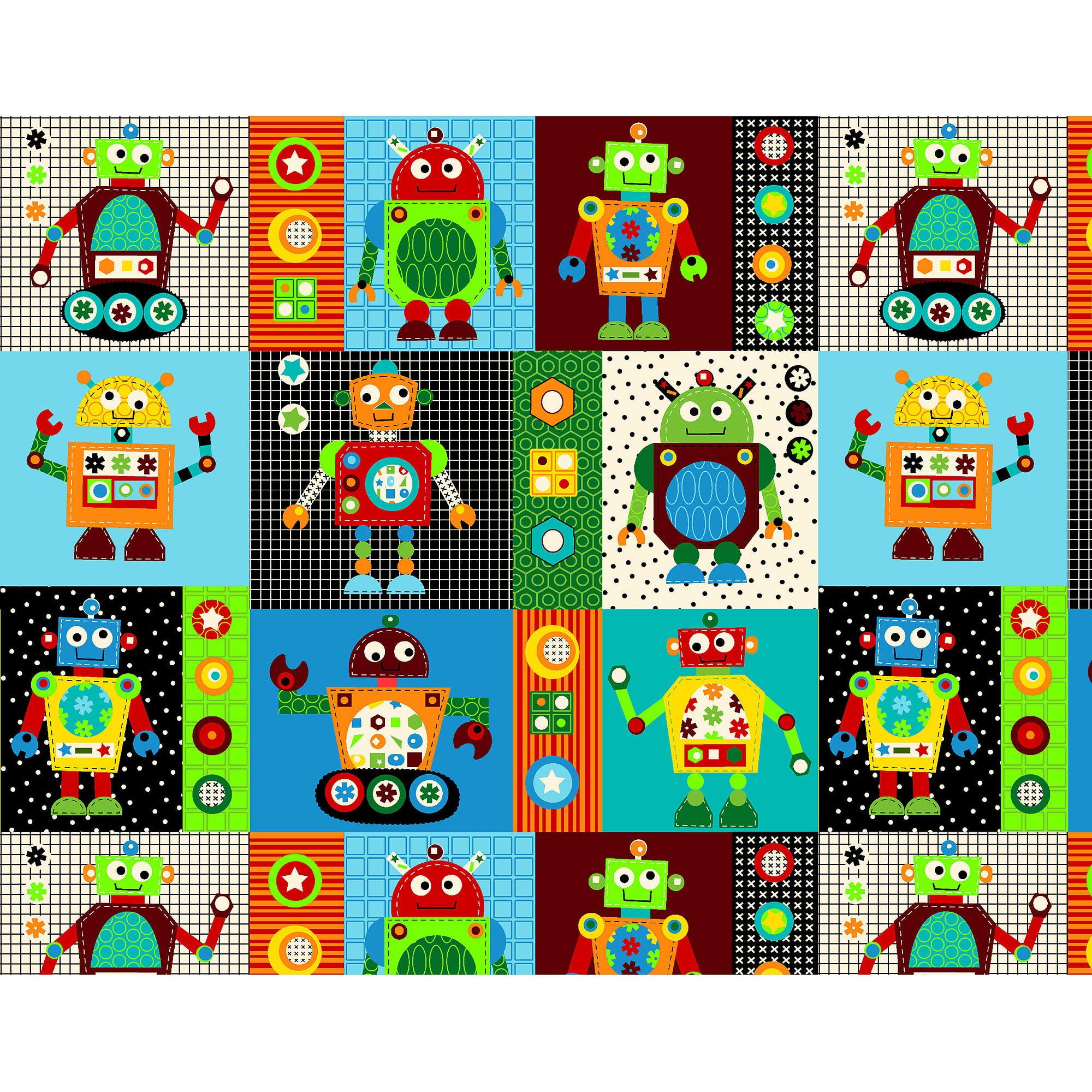 Fleece Prints Robots Fabric