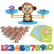 Math Manipulatives Monkey Balance Cool Math Games - STEM Toys & Games for 3+ Year Olds Educational Math Games - Number Learning Toys for Boys and Girls (64 PCS)