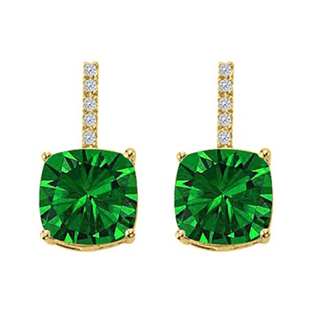 Hanging Square Emerald CZ Halo Stud Earrings Vermeil - image 1 de 2