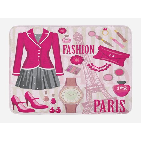 Girls Bath Mat, Fashion Theme in Paris with Outfits Dress Watch Purse Perfume Parisienne Landmark, Non-Slip Plush Mat Bathroom Kitchen Laundry Room Decor, 29.5 X 17.5 Inches, Pink Biege, Ambesonne