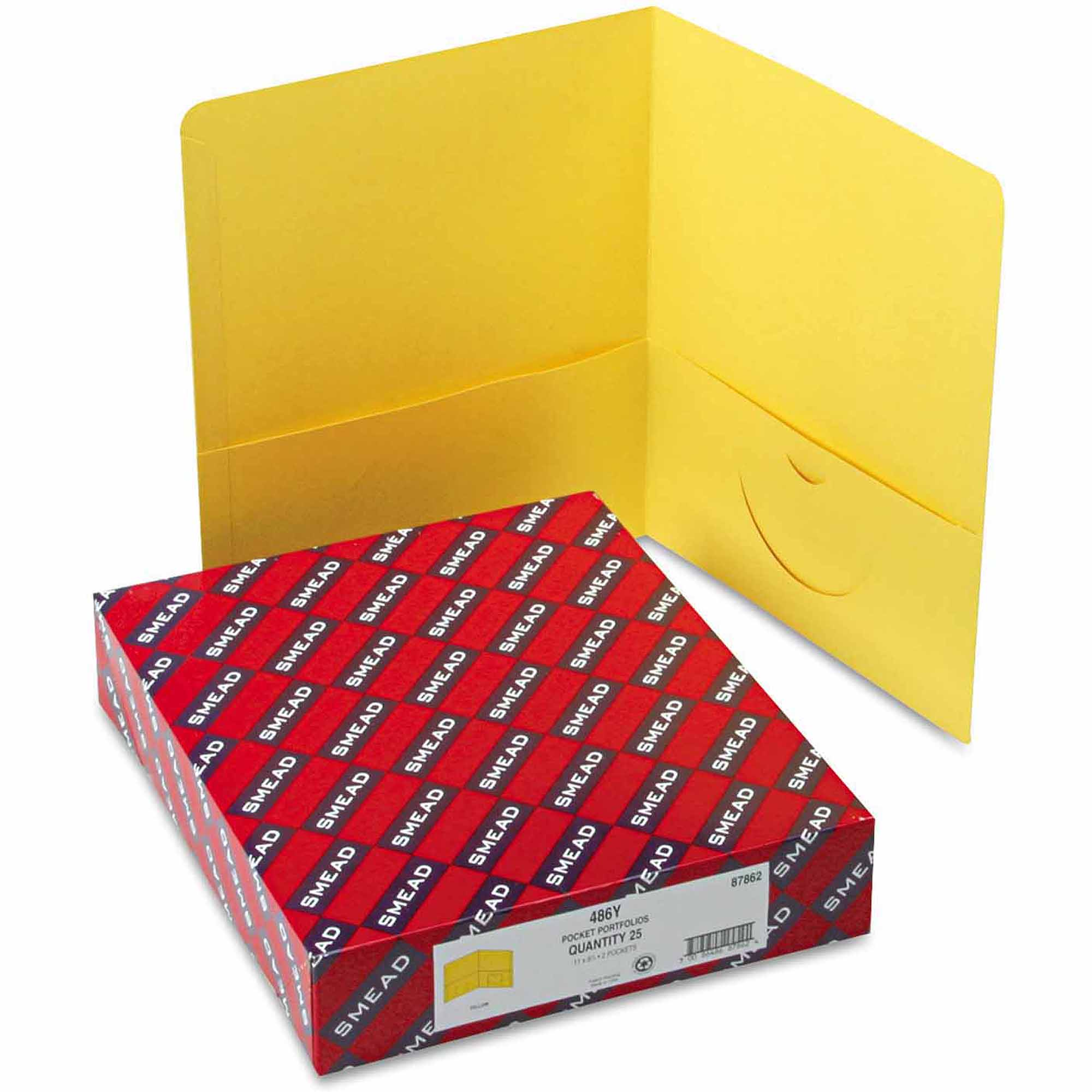 Smead Two-Pocket Portfolio, Embossed Leather Grain Paper, Yellow, 25/Box