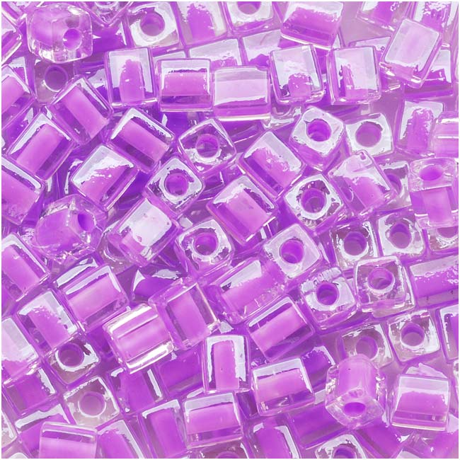 Miyuki 4mm Glass Cube Beads Violet Lined Crystal #222 10 Grams