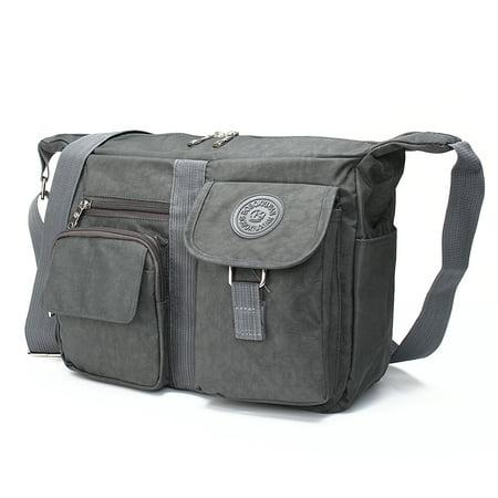 LDPT Men's and Women's Casual Large Handbag Shoulder Bag Cross body Messenger Bag Nylon Bag (Crossbody Purse Grey)